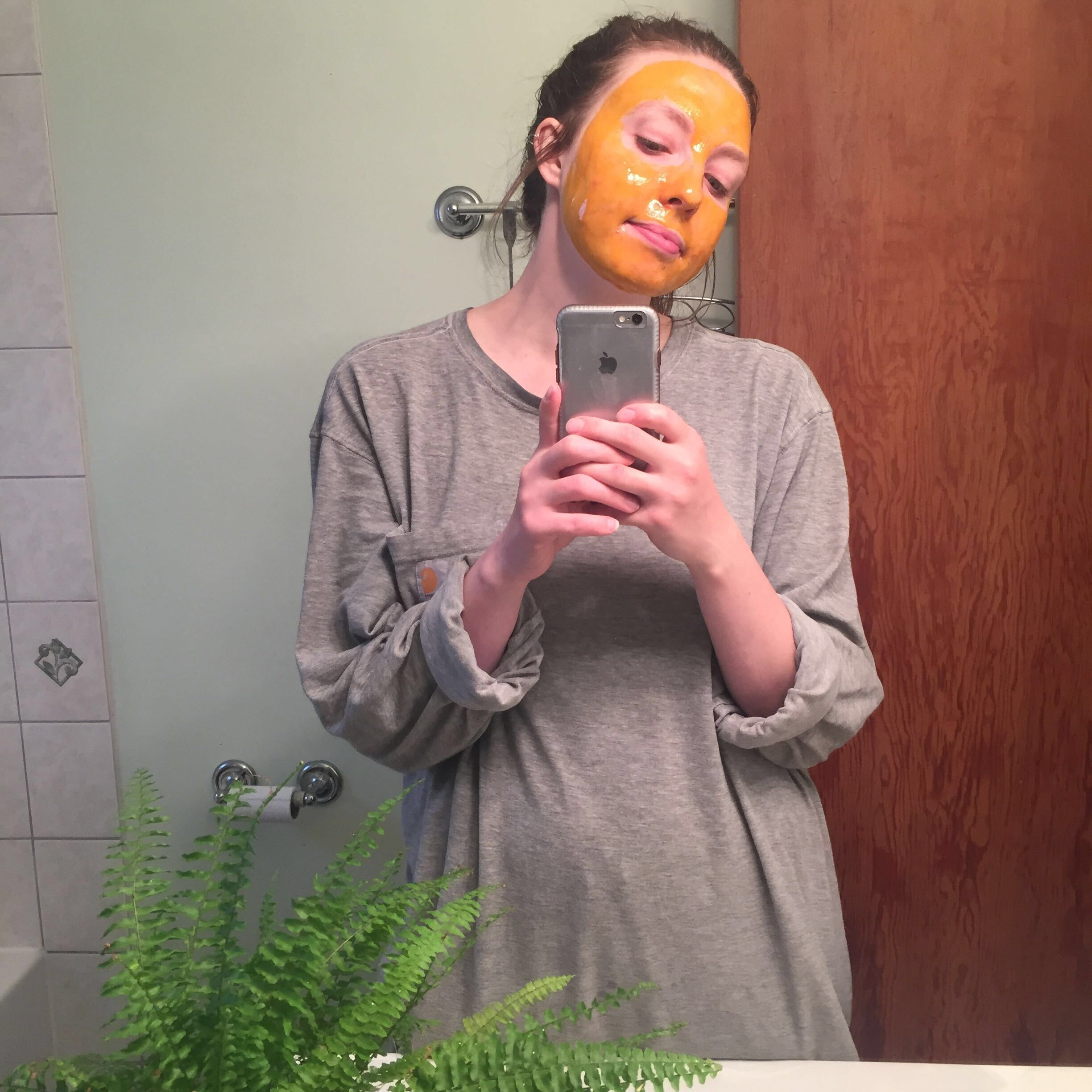 Sage wearing the honey turmeric mask